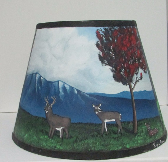 Hand Painted Lamp Shade Acrylic Landscape by MariecsUniques