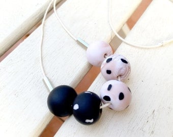Blush & Black Polkadot Australian Handmade Polymer Clay Necklace