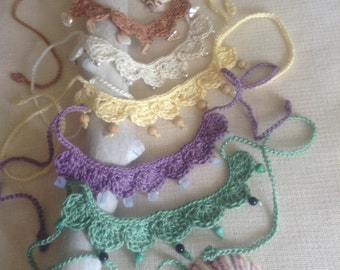 Scalloped Crochet Necklace w/embellishments