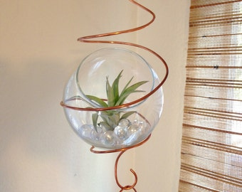 Hanging terrarium for air plant tillandsia 5 link decorative chain with terrarium hanging planter