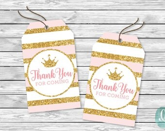 Gold Glitter Printable Tag Its A Girl Baby Shower Party Little Princess Little Girl Birthday Party Printable Sticker Favor DIY Favor Crown