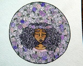 Purple Roses   Original Watercolor   5x5