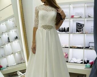 Silvia wedding, wedding  dress atlas skirt, lace wedding dress, wedding dress with  sleeves