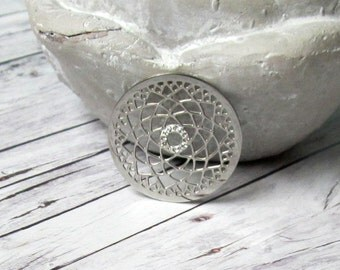 Stainless steel for Coinsfassung White Lotus Flower cubic zirconia silver coin