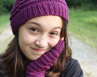 Kids Knit Hat and Fingerless Gloves, Tween Knit Beanie, Kids Arm Warmers, Christmas Gift for Tween, Kids Gift, Purple Hat, Texting Gloves