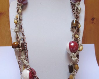 Ceramic bead and rope necklace / Wood bead necklace / Dark red, white ceramic necklace / Beaded necklace /Boho necklace / Rustic necklace