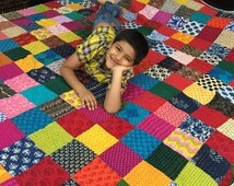 Cool Patchwork King Size Quilt 100% cotton-Reversible-Multipurpose-Ready ship Kantha Quilt, modern cotton quilts, bed quilts sale BDFR12