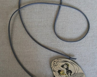 Recycled Leather Necklace with Vintage Portuguese Cartoon