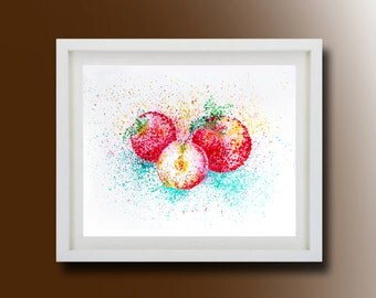 Still Life, Apple Original Painting, Acrylic on paper, Boba painting