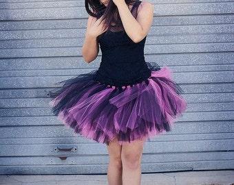 PLUS SIZE tutu, Adult Tutu, Punk Rock Tutu, tulle skirt, Women tulle Skirt, Cosplay tutu, Bachelorette tutu, pink and black tutu, SteamPunk