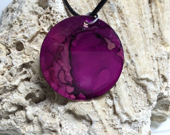 Alcohol Ink Shades of Purple Necklace