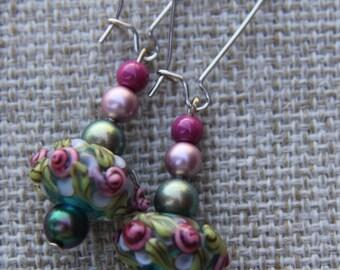 Lampwork earrings raised rose flower Swarovski pearls white green rondelle bead