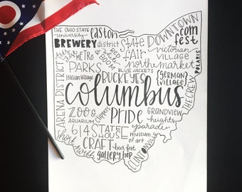Columbus Ohio Art - Ohio Word Art - Columbus Ohio Attractions - Columbus Ohio Typography Print