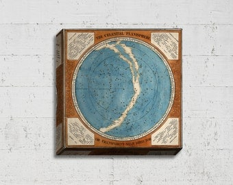 Canvas Wall Hanging - Celestial Planisphere Chart - Vintage Star Map - 18th Century Constellation Chart - Vintage Astronomy Decor