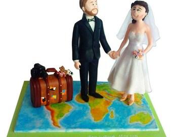 Bride & GroomTravelers Custom Handmade Wedding Cake Topper