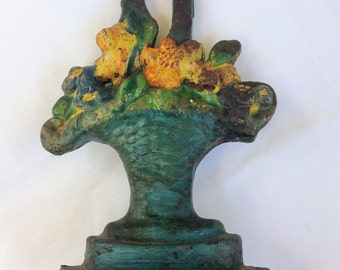 Vintage Cast Iron Doorstop ~ Flower Basket ~ Albany Foundry Company ~ New York ~ Hubley Design