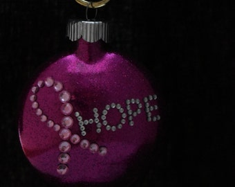 Pink Glittered Breast Cancer Ribbon Hope Glass Christmas Ornament FREE USA SHIPPING