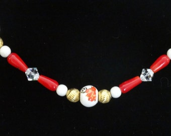 Red Coral, Swarovski and Glass Floral Beaded Necklace
