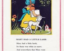 Mary Had A Little Lamb, Vintage 1930's Children's Book Illustration, Digital Print, Instant Digital Download