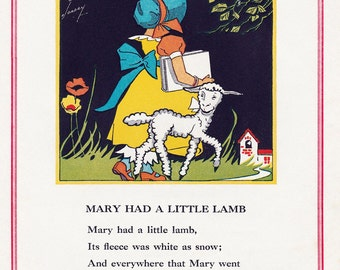 Mary Had A Little Lamb, Vintage 1930's Children's Book Illustration, Digital Print, Instant Digital Download