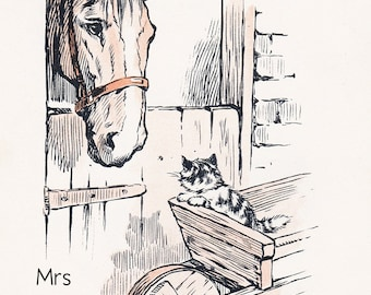 Kitten with horse in stable, Vintage Childrens Illustration, farm animals, 1930s, childrens book picture, Digital Print, Instant Download