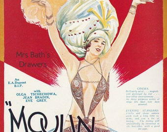 Moulin Rouge Vintage Movie Poster, 1928 Silent Film, Movie Memorabilia, Instant Digital Download, Digital Print