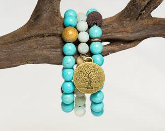 Mala Beads, Tree of Life Bracelet, Yoga Bracelet, Prayer Beads, Wrist Mala Bracelet - Protection, Stress Relief & Empowering Energy