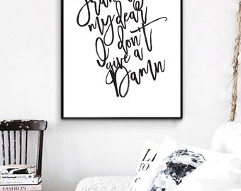 Frankly my dear, Affiche, Typography, Printable Poster, Wall Art, Typography Art, Typography Poster, Typography Print, House Decor, Gifts