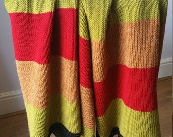 Colour stripe handmade knitted throw over blanket