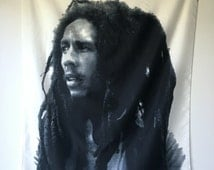 Bob Marley scarf wall hanging music icon Jamaican singer-songwriter collectors reggae  banner reggae decor black on white made in Italy