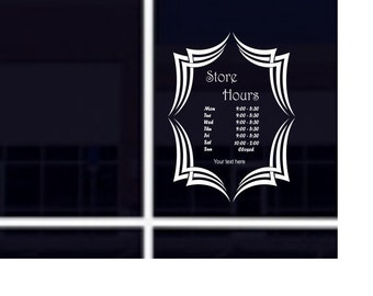 Store Office Business Hours Custom Personalized vinyl door window store decal sticker Graphics design cafe bakery deli custom font color
