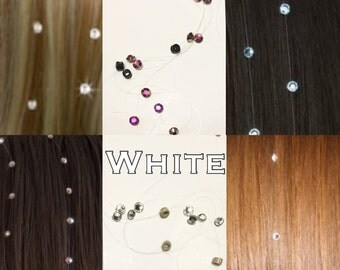 rhinestones for hair, braids or dreadlocks, white or pink.  free shipping