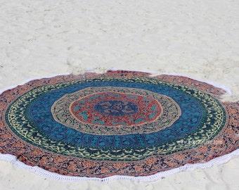 Roundie Round fabric with  multiple colors, white tassels- Beach, Yoga, Dorm, College Mandala Boho (1708)
