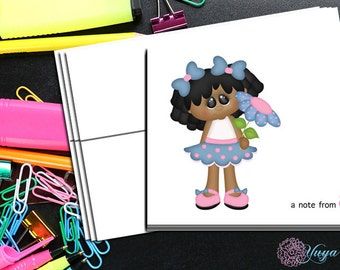 Personalized African American Girl Note Cards / Custom spring Stationery / Girl Stationery Set / Girl Thank You Cards / Set of 12 Kid Notes
