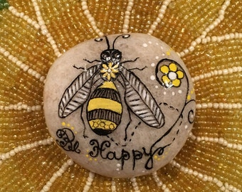 Hand painted bumblebee stone, stone painting, painted stones, stone art