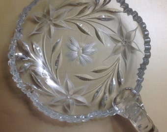 Antique Crystal Glass Candy Dish or Condiment Dish