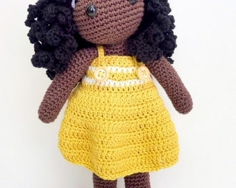 Amigurumi doll with curly hair long