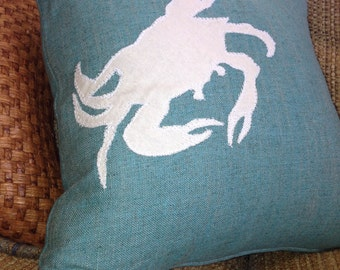 Crab Nautical Pillow, Sea Life Pillow, Decorative Pillow