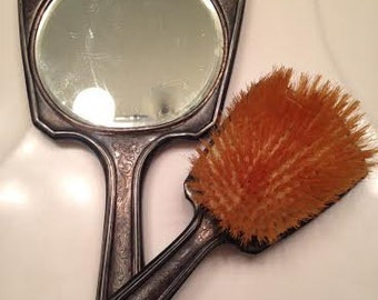 Silver Plated Mirror and Brush Vanity Set