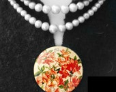 AZALIA floral button, vintage retro chic, boho elegant, red orange and cream. Shaw pin or accessory. Gift for grads, birthday, thank you.