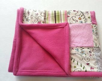 Pink ladybug baby blanket