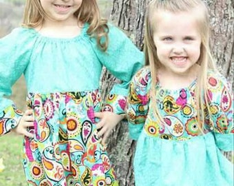 Sister Matching Outfits - Peasant Dress, Top and Triple Ruffle Pants - Spring Outfits