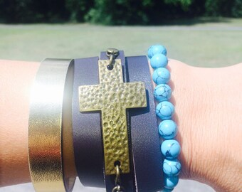 Stacked Cuff Goldtone Hammered Cross Turquoise Beads Stackable