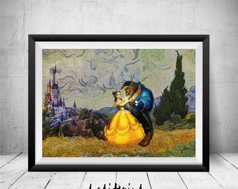 Beauty and the Beast Print, Wheat Field with Cypresses, Van Gogh, Beauty and the Beast Wall Art, Beauty and the Beast Poster, Kids Art Decor