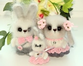 Knit bunny family white bunnies toys gift for a child Easter bunnies set toys hand-knitted rabbit toy bunny stuffed plush Rabbit  amigirumi