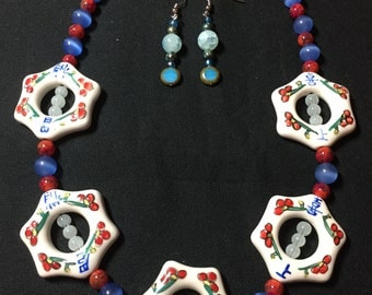 Oriental Asian Style Handmade Necklace and Earrings Set, Asian Style Handmade Necklace and Earrings, Far East Design Handmade Jewelry