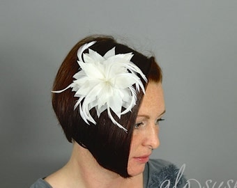 White Lilly Flower Feather  Fascinator Clip