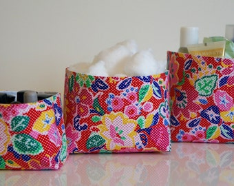Fabric Storage Box Set - Multicoloured Flower - Red/Turquoise or Black