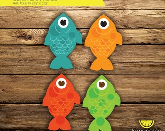 """DIGITAL INSTANT DOWNLOAD Gone Fishin' Birthday Decor Fishes (2 pages of 2 fishes) - Colorful Fishes - 4.75"""" x 7.25"""""""