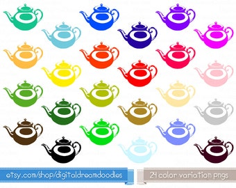 Teapot Clipart, Tea Pot Clip Art - Tea Image, Tea Scrapbook, Tea Graphic, Tea Topper - Teacup Graphic, Tea Time Image, Tea Party Download